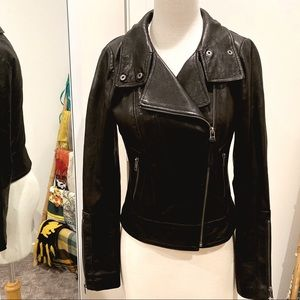 Aritzia Mackage Kenya black leather moto jacket
